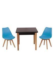 Conjunto Mesa De Jantar Luiza 80Cm Preta Com 2 Cadeiras Leda - Turquesa