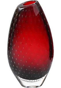 Vaso Oval Bolhas- Incolor & Bordô- 38Xø20Cm- Cricristais São Marcos