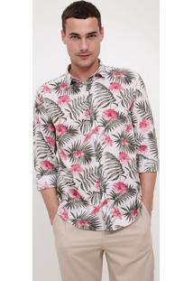 Camisa Comfort Com Estampa Floral Em Voile