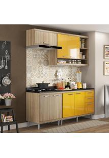 Cozinha Compacta 7 Portas Sicília Com Tampo 5811 Amarelo/Argila - Multimóveis