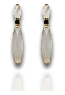 Brinco Barbara Strauss Mila Quartzo Cristal Leitoso Revestido Em Ouro 18K - Feminino-Branco