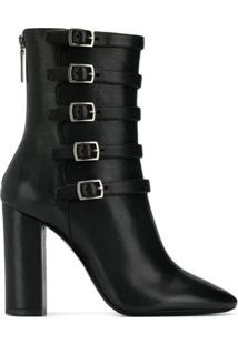 Saint Laurent Ankle Boot Lou Com Fivelas - Preto