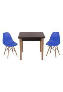 Conjunto Mesa De Jantar Luiza 80Cm Preta Com 2 Cadeiras Eames Eiffel - Azul