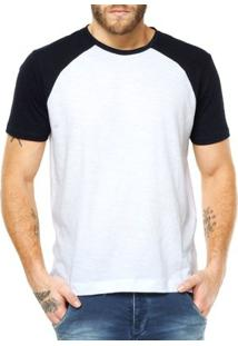 Camiseta Raglan Criativa Urbana Lisa Básica - Masculino-Branco