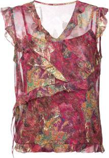 Nicole Miller Blusa Assimétrica Com Paetês - Rosa