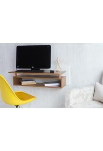 Escrivaninha De Parede Moderna Branca E Freijó Mesa Para Estudo Suspensa Paul Woodinn - 90X38,5X30 Cm
