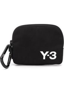 Y-3 Porta-Moedas Com Zíper E Estampa De Logo - Preto