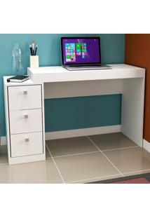 Mesa Para Computador 3 Gavetas Branco Tx/Branco Tx - Hecol
