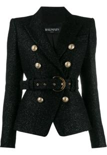 Balmain Glittered Belted Blazer - Preto