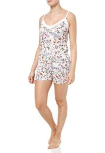 Pijama Curto Feminino Branco/Bege