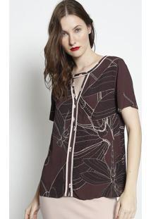 Blusa Com Recorte & Vazado- Marrom Escuro & Rosa Claro