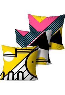 Kit Com 3 Capas Para Almofadas Pump Up Decorativas Estilo Linhas E Formas Geométricas Coloridas 45X45Cm