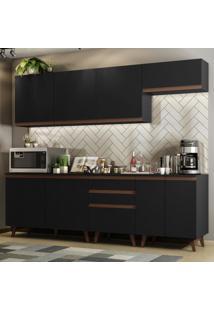 Cozinha Completa Madesa Reims 250001 Com Armário E Balcão - Preto Preto