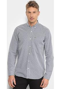 Camisa Lacoste Xadrez Masculina - Masculino-Marinho+Branco