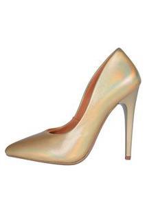 Scarpin Factor Salto Alto - Metalizado Dourado