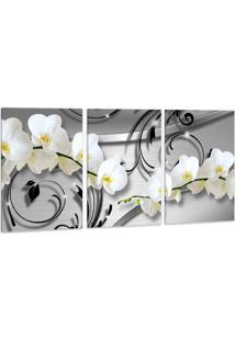 Quadro 60X120Cm Oppen House Orquídea Silver Luxury Flores Brancas