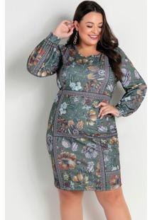 Vestido Arabescos E Floral Com Mangas Plus Size
