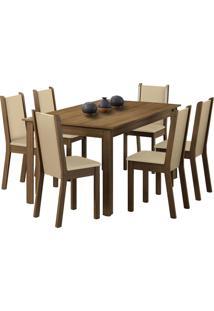 Sala De Jantar Madesa Tauany E 6 Cadeiras Marrom