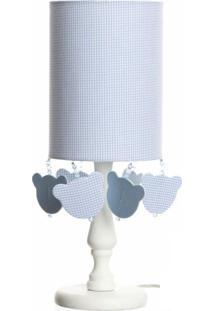 Abajur Cúpula Tubular Urso Quarto Bebê Infantil Menino Potinho De Mel Azul
