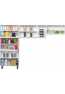 Cozinha Compacta 3 Peças 5 Portas De Vidro Sem Balcão Premium Itatiaia Branco/Preto