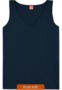 Blusa Azul Marinho Texturizada Decote V