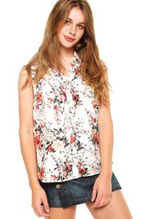 Camisa Malwee Floral Off-White