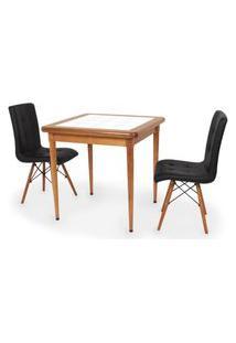 Conjunto Mesa De Jantar Em Madeira Imbuia Com Azulejo + 2 Cadeiras Gomos - Preto