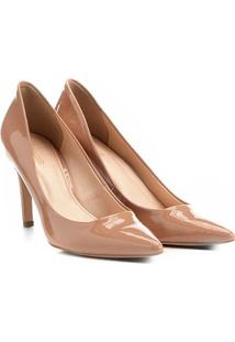 Scarpin Shoestock Salto Alto Bico Fino - Feminino-Nude
