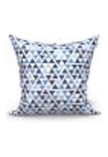 Capa De Almofada Decorativa Triângulo Azul 45Cm X 45Cm 1 Unidade