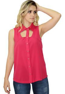 Camisa Energia Fashion Sem Manga Rosa