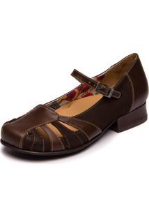 Sapato Boneca Mzq Salto Baixo - Chocolate / Café 7711