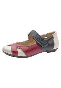 Sapatilha Doctor Shoes Couro Liso 1298 Framboesa/Marinho