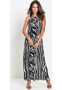 Vestido Longo Animal Print Zebra Preto