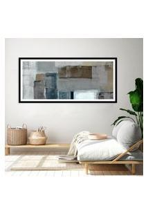 Quadro Com Moldura Chanfrada Abstrato Cinza E Bege 40X100