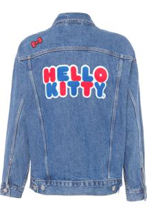 Jaqueta Feminina Jeans Trucker Dad Hello Kitty - Azul