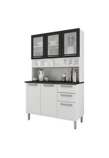 Cozinha Compacta Itatiaia I3Vg2-120 Regina 6 Portas Branca/Preta