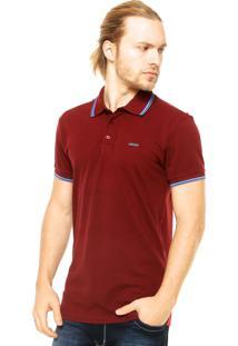 Camisa Polo Manga Curta Colcci Bordado Vermelho Bordô
