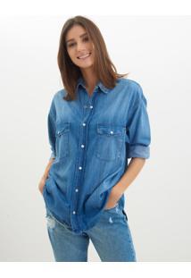 Le Lis Blanc. Camisa Le Lis Blanc Oversized Jeans Azul Feminina 40162efd149ca