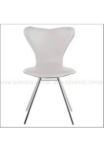 Cadeira Jacobsen Cromada Corino Branco