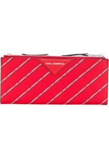 Karl Lagerfeld Carteira De Couro Listrada Com Logo - Vermelho