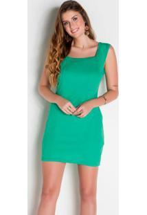 Vestido Verde Decote Quadrado