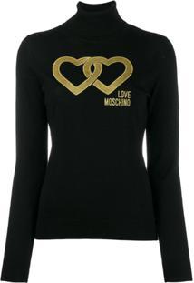Love Moschino Linked Heart Jumper - Preto