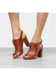 Ankle Boot Couro Loucos & Santos Napa - Feminino-Caramelo