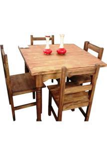 Jogo Mesa 4 Cadeiras Madeira Maciça Moveis Rusticos Bento