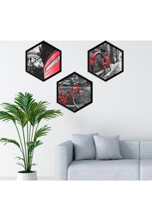Kit 3 Quadros Com Moldura Hexagonal Bicycle Red