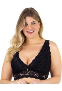 Sutiã Top Plus De Renda Veneza Preto | 591.801