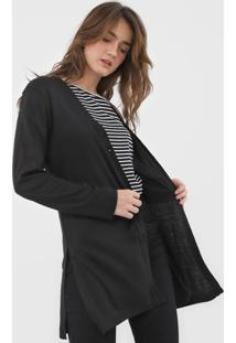 Cardigan Facinelli By Mooncity Tricot Fendas Preto