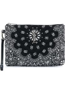 Saint Laurent Clutch Com Estampa Paisley - Preto
