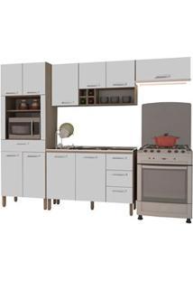 Cozinha Compacta Ametista Com Balcão 10 Portas Composição 6 Nogal/Bran