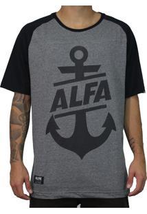 Camiseta Alfa Raglan Âncora Mescla